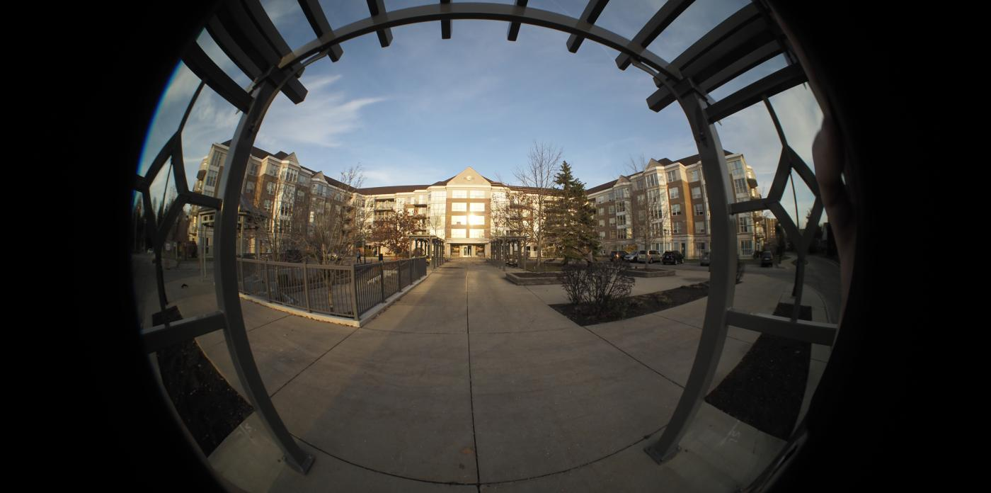 cool fish eye angle of the front of Atrium suites